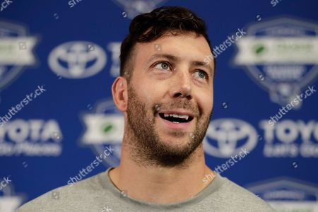 New York Giants linebacker Connor Barwin speaks to reporters during NFL football training camp, in East Rutherford, N.J