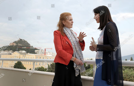 A picture made available on 26 July 2018 shows Sarah Ferguson, Duchess of York (L) talking with Greek Tourism Minister Elena Kountoura (R) during a meeting in the ministry in Athens, Greece, 25 July 2018.  The British writer, film and television producer and former wife of British royal Prince Andrew, who is actively involved in charity work, expressed her deep sorrow and sympathy for the tragedy that has struck Greece and said she will provide every possible help.'Fergie' said that, as a charity worker, she was impressed by the way that everyone was working hard to help their fellow human beings.