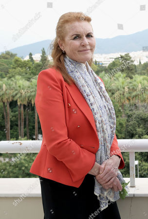 Stock Picture of A picture made available on 26 July 2018 shows Sarah Ferguson, Duchess of York during a meeting with  Greek Tourism Minister Elena Kountoura (not pictured) in the ministry in Athens, Greece, 25 July 2018.  The British writer, film and television producer and former wife of British royal Prince Andrew, who is actively involved in charity work, expressed her deep sorrow and sympathy for the tragedy that has struck Greece and said she will provide every possible help.'Fergie' said that, as a charity worker, she was impressed by the way that everyone was working hard to help their fellow human beings.