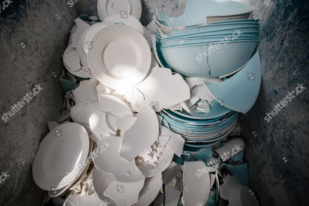 Withdrawn porcelain with marked failures at the Royal Porcelain Factory 'Koenigliche Porzellan-Manufaktur' (KPM) in Berlin, Germany, 26 July 2018. The name Royal Porcelain Factory 'Koenigliche Porzellan-Manufaktur' (KPM) exists since 1763, when King Frederick II of Prussia took over the company from a businessman. Nowadays the company is run by Berlin banker Joerg Woltmann.