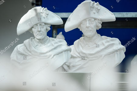 Busts showing Prussian king Frederick II aka Frederick the Great (Friedrich II aka Friedrich der Grosse) at the Royal Porcelain Factory 'Koenigliche Porzellan-Manufaktur' (KPM) in Berlin, Germany, 26 July 2018. The name Royal Porcelain Factory 'Koenigliche Porzellan-Manufaktur' (KPM) exists since 1763, when King Frederick II of Prussia took over the company from a businessman. Nowadays the company is run by Berlin banker Joerg Woltmann.