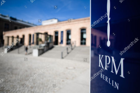 The logo outside the Royal Porcelain Factory 'Koenigliche Porzellan-Manufaktur' (KPM) in Berlin, Germany, 26 July 2018. The name Royal Porcelain Factory 'Koenigliche Porzellan-Manufaktur' (KPM) exists since 1763, when King Frederick II of Prussia took over the company from a businessman. Nowadays the company is run by Berlin banker Joerg Woltmann.