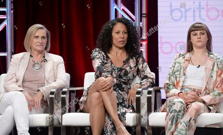 """Stock Image of Alexandra La Roche, Crystal Balint, Chanelle Peloso. Director Alexandra La Roche, from left, Crystal Balint and Chanelle Peloso participate in """"The Bletchley Circle: San Francisco"""" panel during the BritBox Television Critics Association Summer Press Tour at The Beverly Hilton hotel, in Beverly Hills, Calif"""