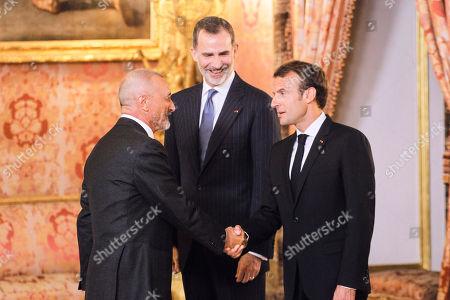 King Felipe VI of Spain, Emmanuel Macron, Arturo Perez Reverte