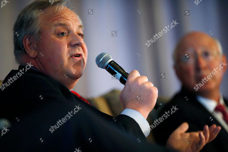 Stock Image of Ken Salazar, David Bernhardt, r m. U.S. Deputy Secretary of the Interior David Bernhardt speaks during the annual state of Colorado energy luncheon sponsored by the Colorado Petroleum council, in Denver. At right is former Secretary of the Interior Ken Salazar