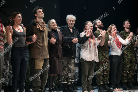 Kirsty Bushell (Regan), Luke Thompson (Edgar), Sinead Cusack (Kent), Sir Ian McKellen (King Lear), Danny Webb (Gloucester), James Corrigan (Edmund) and Claire Price (Goneril) during the curtain call