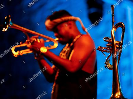 US band 'R+R=Now' trumpet player Christian Scott performs on stage during his San Sebastian's Jazz Festival second day concert played in San Sebastian, Basque Country, Spain, 26 July 2018.