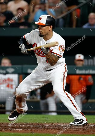 4d0540f36 Baltimore Orioles  Jace Peterson attempts to bunt during a baseball game  against the Tampa Bay