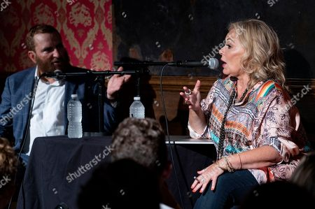 Shmuley Boteach, Roseanne Barr. Comedian and actress Roseanne Barr, right, along with Rabbi Shmuley Boteach, left, takes part in a special event and podcast taping at Stand Up NY, in New York
