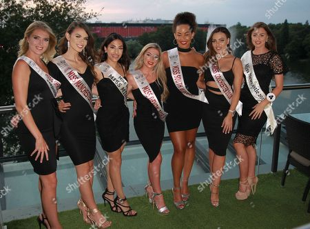 #17 Emma Pollard Miss Shropshire 2018 #18 Fatime Gashi Miss Manchester 2018 #7 Anusha Sareen Miss Middlesex 2018 #25 Jessica Rose Lidstone Miss Devon 2018 #21 Jade Rice Alor Miss SouthWest 2018 #26 Katerina Christo Miss Colchester 2018 #4 Alisha Cowie Miss Newcastle 2017 in the Stages Hair/Top Model round in High Line in little black dresses held in HIGH LINE at the Miss England 2018 Finals part 1. Held at Resorts World in Birmingham