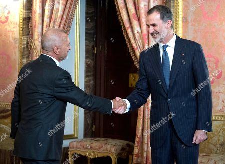 King Felipe VI and Spanish writer, Arturo Perez Reverte