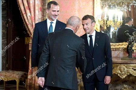 King Felipe VI, Emmanuel Macron and Spanish writer, Arturo Perez Reverte