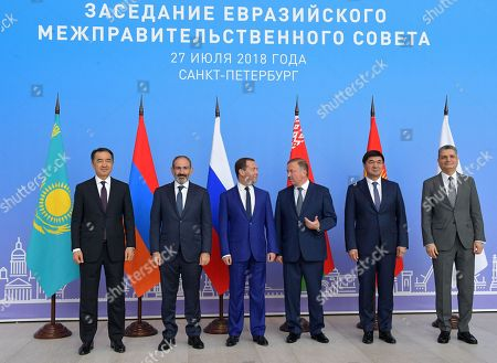 Stock Picture of (L-R) Kazakhstan's Prime Minister Bakhytzhan Sagintayev, Armenian Prime Minister Nikol Pashinyan, Russian Prime Minister Dmitry Medvedev, Belarus Prime Minister Andrei Kobyakov, Kyrgyz Prime Minister Mukhammedkaliy Abylgaziyev and Eurasian Economic Commission Board Chairman Tigran Sargsyan pose for a picture during  the Eurasian Economic Union (EAEU) Intergovernmental Council in St. Petersburg, Russia, 27 July 2018. Prime Ministers of Russia, Armenia, Belarus, Kazakhstan and Kyrgyzstan meet in St.Petersburg to discuss issues of EAEU member-states interaction.