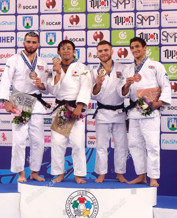 The winners of the men's Judo - 60 kg (L-R ) Adonis Diaz of USA, second, Naohisa Takato of Japan, first, David Pulkrabek of Czech Republic, and Ashley Mckenzie of Great Britain, joint third at the Judo World Cup in Zagreb, Croatia, 27 July 2018.