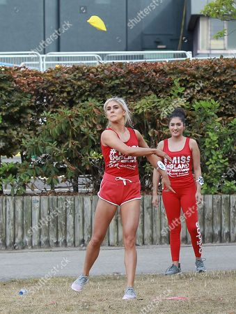 #3 Alexandra Darby Miss Black Country 2018 throwing a bean bag at the Sports Round at the Miss England 2018 Final part 1