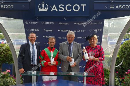 CLON COULIS Trophy presentation to Ben Curtis with owner Collette Twomey & trainer David Barron after winning The Markerstudy British EBF Valiant Stakes (Listed) at Ascot Copyright: Ian Headington/racingfotos.com