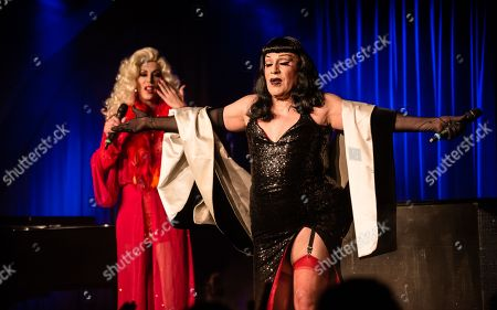 Joey Arrias and Sherry Vine perform during their 30th anniversary show at the BKA (Berliner cabaret institution) in Berlin, Germany, 18 July 2018. (issued 27 July) Both artists started out in Berlin and have meanwhile performed in New York, London and Paris.  Christopher Street Day (LGBT parade) in Berlin is held on Saturday, 28 July 2018 in Germany.