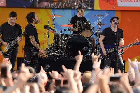 Joe Trohman, Pete Wentz, Andy Hurley and Patrick Stump of Fall Out Boy