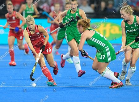 Sophie Bray of England runs with the ball