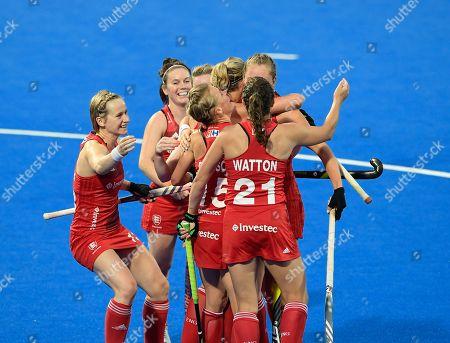 Giselle Ansley celebrating with team mates