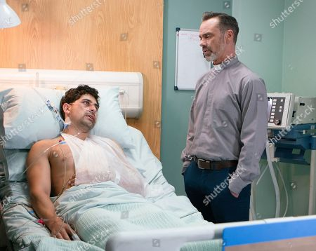 Stock Picture of Ep 9526 Monday 6th August 2018 Billy Mayhew, as played by Daniel Brocklebank, lies to Shona and says he is spending the day with Summer but heads off to the hospital once more. Josh Tucker, as played by Ryan Cartwright, regains consciousness. Billy reveals to Josh that he's a friend of David's and he knows all about the rape.