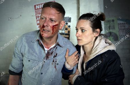 Stock Picture of Ep 9523 Wednesday 1st August 2018 - 2nd Ep Carol, as played by Emma Hartley-Miller, finds Sean Tully, as played by Antony Cotton, slumped in the toilets battered and bruised and takes him to A&E where he is forced to admit he is homeless.
