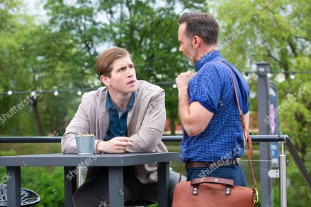Stock Image of Ep 9521 Monday 30th July 2018 - 2nd Ep Once David has gone Billy Mayhew, as played by Daniel Brocklebank, approaches Ethan, as played by Kyle Rowe, and telling him he is a vicar warns him to steer clear of Josh as he is a rapist.