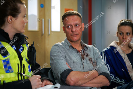 Stock Image of Ep 9523 Wednesday 1st August 2018 - 2nd Ep Carol, as played by Emma Hartley-Miller, finds Sean Tully, as played by Antony Cotton, slumped in the toilets battered and bruised and takes him to A&E where he is forced to admit he is homeless.