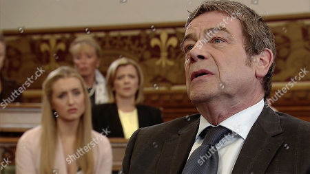 Ep 9524 Friday 3rd August 2018 - 1st Ep Johnny Connor, as played by Richard Hawley, is bereft thinking he may never see his granddaughter again after finding out about Eva's departure, with Eva Price, as played by Catherine Tyldesley, and Leanne Tilsley, as played by Jane Danson.