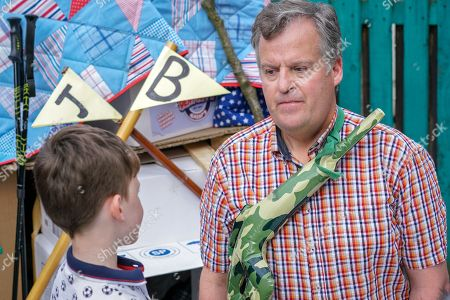 Stock Image of Ep 9525 Friday 3rd August 2018 - 2nd Ep Brian Packham, as played by Peter Gunn, and Joseph Brown, as played by William Flanagan, spend an enjoyable day building a den in the backyard. Joseph begs Brian to ditch his plan to open a shop and look after him instead. Brian's torn.