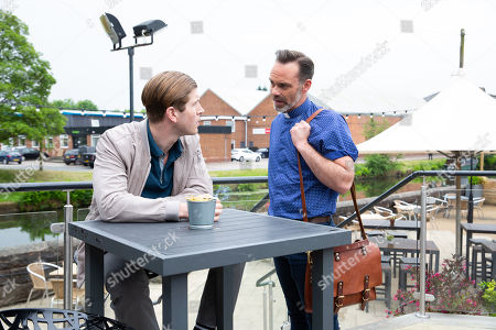Stock Photo of Ep 9521 Monday 30th July 2018 - 2nd Ep Once David has gone Billy Mayhew, as played by Daniel Brocklebank, approaches Ethan, as played by Kyle Rowe, and telling him he is a vicar warns him to steer clear of Josh as he is a rapist.