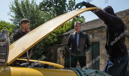 Ep 8232 Wednesday 15th August 2018 Ross Barton, as played by Michael Parr, offers to sell Frank, as played by Michael Praed, a vintage sports car and Megan Macey, realising that he can't afford it, offers to buy it. They are unaware it's dodgy and soon Frank and Megan's lives hang in the balance as the car ends upside down in a ditch.