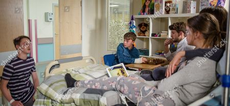 Stock Picture of Ep 8227 Thursday 9th August 2018 - 1st Ep In the hospital, Debbie Dingle, as played by Charley Webb, meets Dom, as played by Finlay Sheard, one of Sarah Sugden's, as played by Katie Hill, friends on the ward. Later, everyone is shocked when Dom suddenly collapses, with Joe Tate, as played by Ned Porteous, Debbie Dingle, as played by Charley Webb.