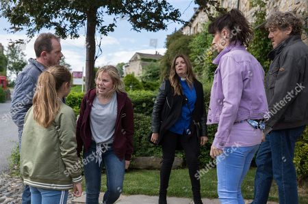 Ep 8226 Wednesday 8th August 2018 Beth, as played by Annabelle Kaye, is back in the village creating more problem for the Spencers, with Daz Spencer, as played by Mark Jordon, Amelia Spencer, as played by Daisy Campbell, Dan Spencer, as played by Liam Fox, Kerry Wyatt, as played by Laura Norton, Harriet Finch, as played by Katherine Dow Blyton.