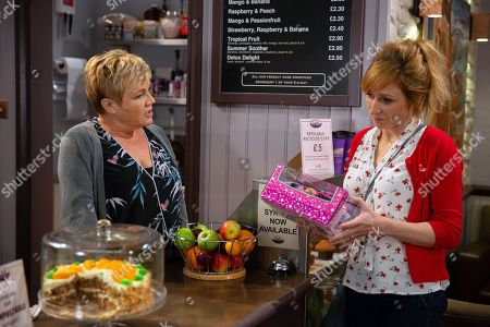 Ep 8223 Friday 3rd August 2018 Laurel Thomas, as played by Charlotte Bellamy, is humiliated when Brenda Walker, as played by Lesley Dunlop, tells her that Bob doesn't work in the cafe anymore.