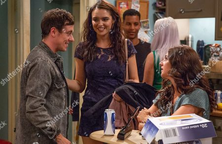 Stock Image of Ep 8233 Thursday 16th August 2018 - 2nd Ep Victoria Barton, as played by Isobel Hodgins, gets jealous at Ross's party when she sees Abby, as played by Alyssia Jarvis, making eyes at Matty Barton, as played by Ash Palmisciano.