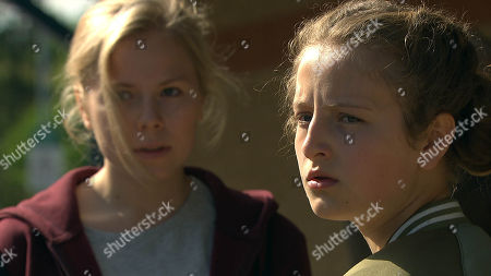 Stock Photo of Ep 8235 Friday 17th August 2018 Amelia Spencer, as played by Daisy Campbell, has bought herself and Beth, as played by Annabelle Kaye, bus tickets to run away to Scotland. Will Beth make Amelia see sense or is Dan set to lose his daughter again?
