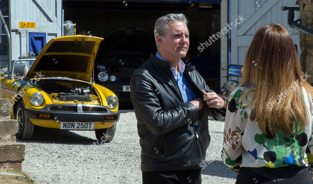 Ep 8232 Wednesday 15th August 2018 Ross Barton offers to sell Frank, as played by Michael Praed, a vintage sports car and Megan Macey, as played by Gaynor Faye, realising that he can't afford it, offers to buy it. They are unaware it's dodgy and soon Frank and Megan's lives hang in the balance as the car ends upside down in a ditch.