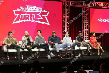 "Andy Suriano, Ant Ward, Ben Schwartz, Omar Benson Miller, Josh Brener, Brandon Mychal Smith, Kat Graham. Co-executive producers Andy Suriano, from left, and Ant Ward, Ben Schwartz, Omar Benson Miller, Josh Brener, Brandon Mychal Smith and Kat Graham participate in the ""Rise of the Teenage Mutant Ninja Turtles"" panel during the Viacom Television Critics Association Summer Press Tour at The Beverly Hilton hotel, in Beverly Hills, Calif"