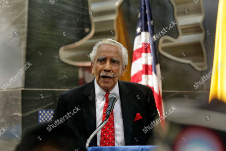 Stock Image of Former Congressman Charles Rangel speaks to veterans gathered to mark the 65th anniversary of the halt of combat in the Korean peninsula, at Battery Park in New York, . Rangel received a Purple Heart and the Bronze Star with Valor for his actions in the Korean peninsula with the 503rd Battalion, an all-African-American artillery unit