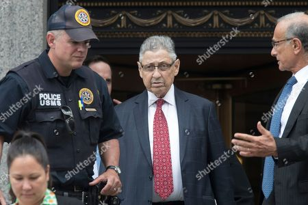 "Former New York Assembly Speaker Sheldon Silver, enter, leaves federal court in New York after his sentencing, . Silver, a former New York Assembly speaker who brokered legislative deals for two decades before criminal charges abruptly ended his career, was sentenced Friday to seven years in prison by a judge who said political corruption in the state ""has to stop"