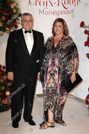 Stock Image of Lawyer, Thierry Herzog and his wife attend the 70th annual Red Cross Gala at the sporting club in Monte-Carlo, July 27, 2018.