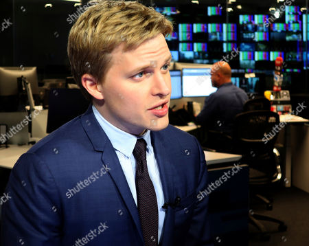 Stock Picture of Ronan Farrow, a contributing writer for the New Yorker, speaks with reporters at Associated Press headquarters in New York, . Farrow, who wrote a Pulitzer Prize-winning story for the New Yorker on the sexual misconduct allegations against media mogul Harvey Weinstein, has written a similar story for the magazine on CBS Chief Executive, Les Moonves