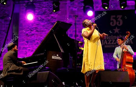 US jazz singer Cecile McLorin Salvant (C) perfoms on stage during the San Sebastian's Jazz Festival third day concert played in San Sebastian, Basque Country, Spain, 27 July 2018.