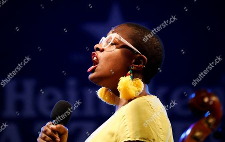 US jazz singer Cecile McLorin Salvant perfoms on stage during the San Sebastian's Jazz Festival third day concert played in San Sebastian, Basque Country, Spain, 27 July 2018.