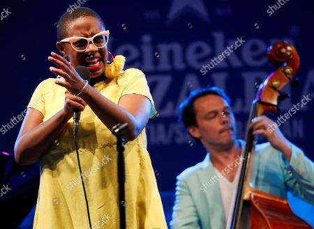 US jazz singer Cecile McLorin Salvant (L) perfoms on stage during the San Sebastian's Jazz Festival third day concert played in San Sebastian, Basque Country, Spain, 27 July 2018.