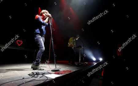 French band 'Phoenix' singer Thomas Mars performs on stage during the Low Festival concert played in Benidorm, Alicante, eastern Spain, 27 July 2018.