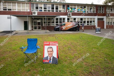 Stock Photo of Josh Wilson placards are seen at the Fremantle Public school on election day in Fremantle, Western Australia, Australia, 28 July 2018. Dubbed 'Super Saturday,' five federal simultaneous byelections will be held on the day (for the seats of Braddon, Fremantle, Longman, Mayo and Perth), unprecedented in Australian election history after sitting members of parliament were forced to resign due to dual citizenship in breach of the Constitution.