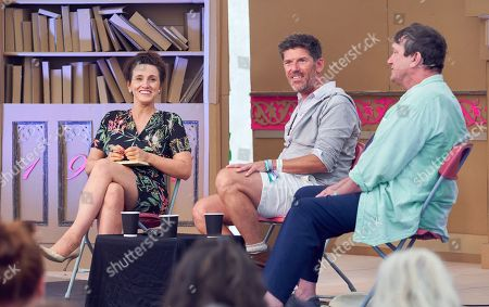 Stock Image of Grace Dent, Rowley Leigh and Russell Norman at The Bowling Green, Port Eliot Festival,