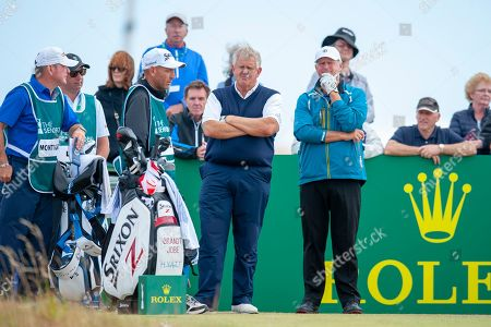 Colin Montgomery and Sandy Lyle on the 10th tee during round 3 of the Seniors Open St Andrews, West Sands. Picture by Malcolm Mackenzie